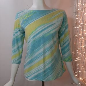 3/$18 Ruby Rd Teal Green Stretch Top
